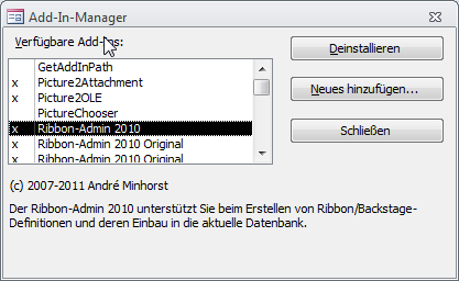 Der Add-In-Manager in Aktion