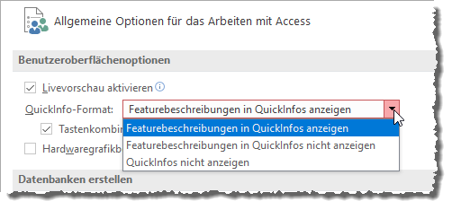 Die Option QuickInfo-Format